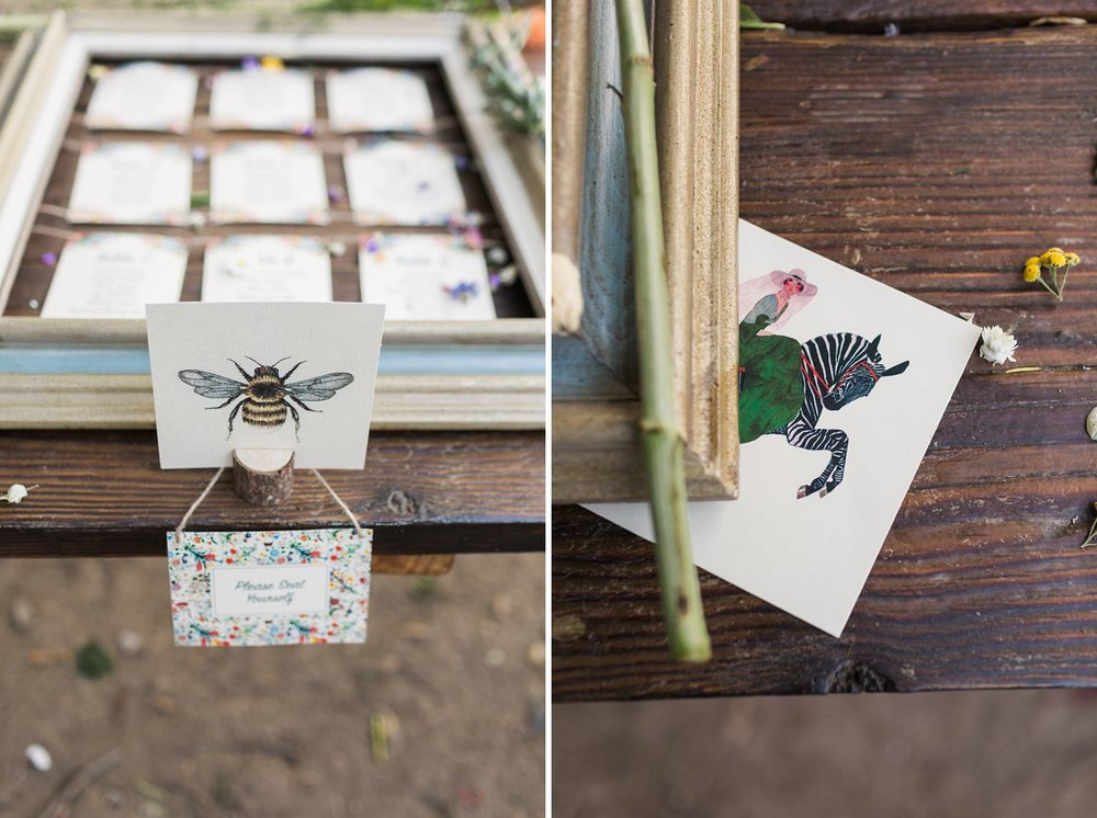 bee themed wedding seating chart with frame