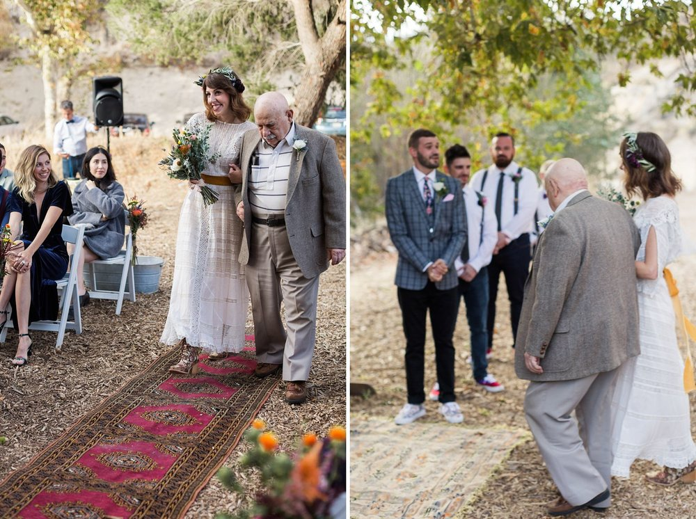 vintage rug as aisle runner at los angeles wedding photographer