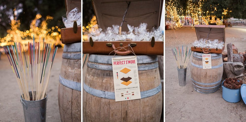 s'mores roasting at los angeles wedding