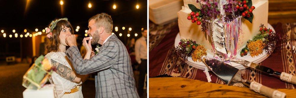 bride and groom cake smash los angeles wedding