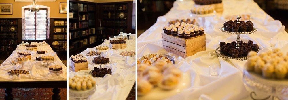 university club wedding dessert table