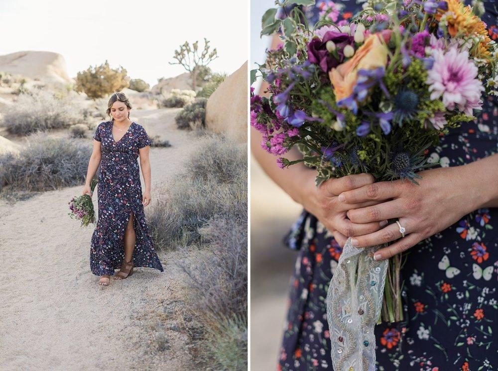 wildflower bouquet engagement photos