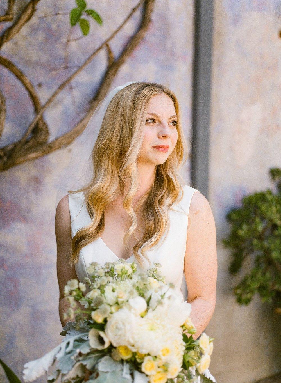 bride with bouquet at santa barbara wedding