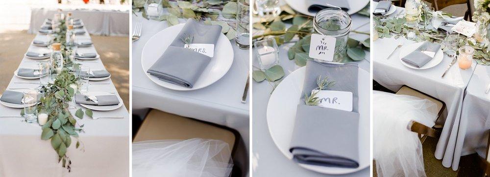 grey wedding linens reception table