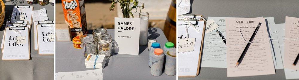 kids game table at wedding