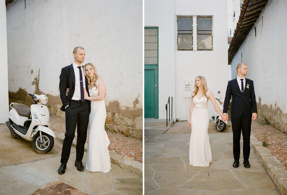 bride and groom vespa photos