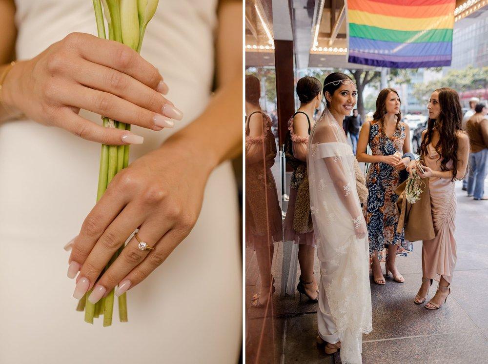bride holding bouquet at san francisco wedding