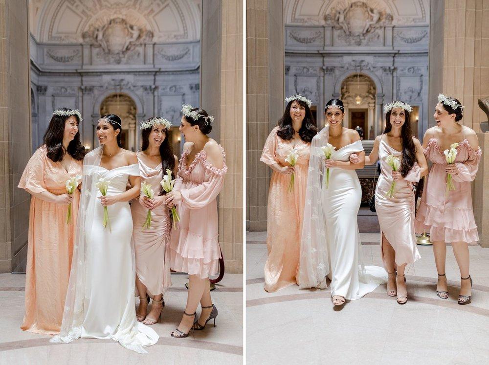 blush bridal party at san francisco city hall wedding
