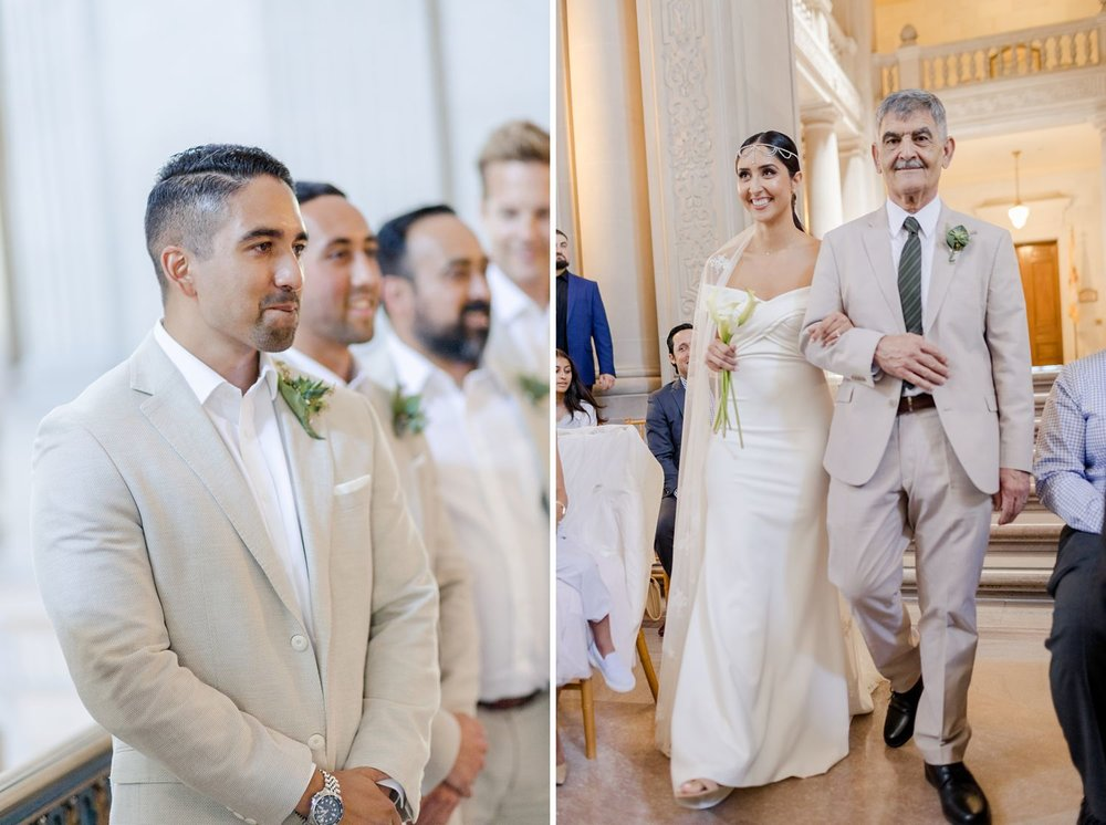 groom sees bride for the first time at san francisco city hall wedding