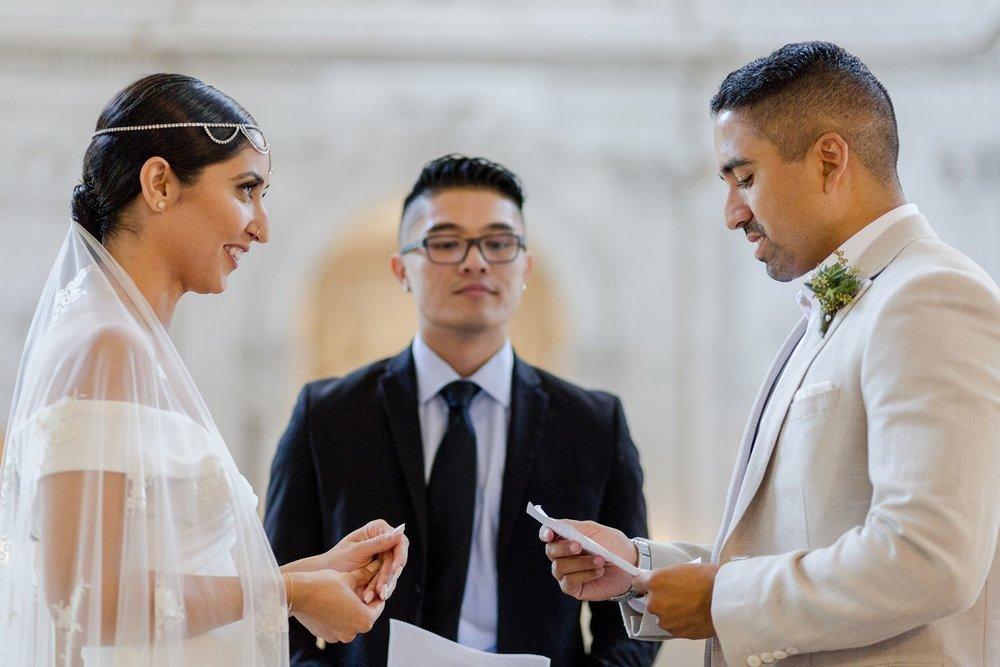 wedding vows at mayor's balcony ceremony