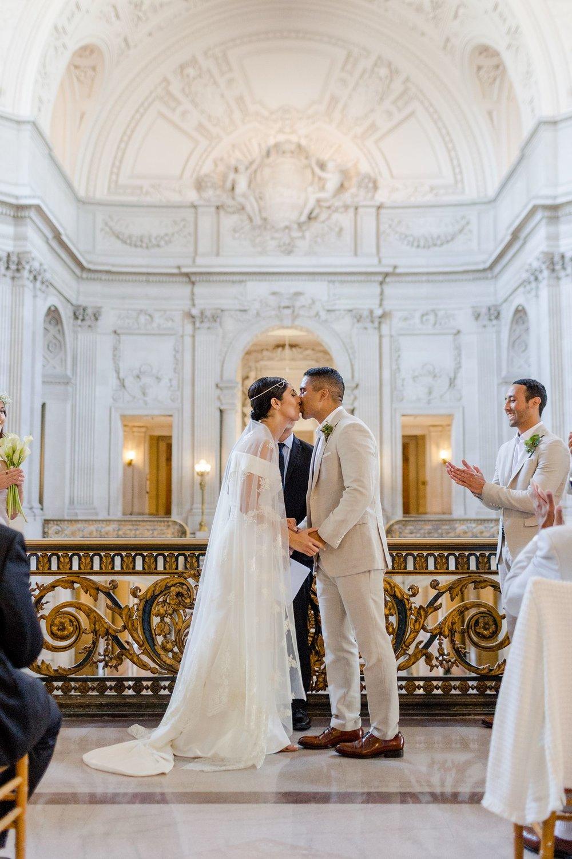 first kiss at san francisco city hall wedding