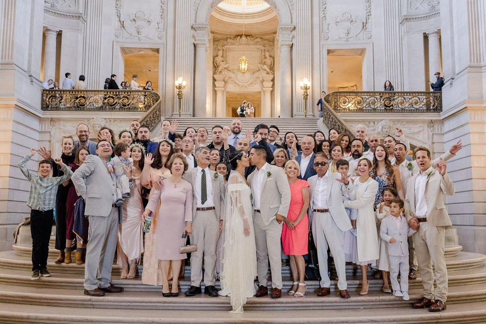 wedding ceremony group shot san francisco city hall
