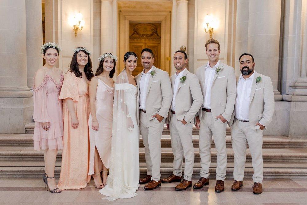 wedding party photos at san francisco city hall wedding
