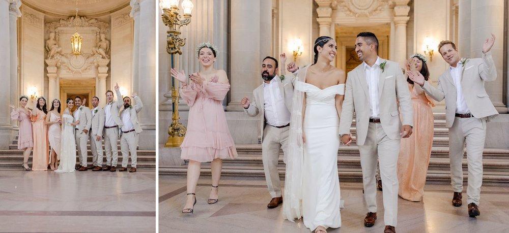 stylish wedding party at san francisco wedding