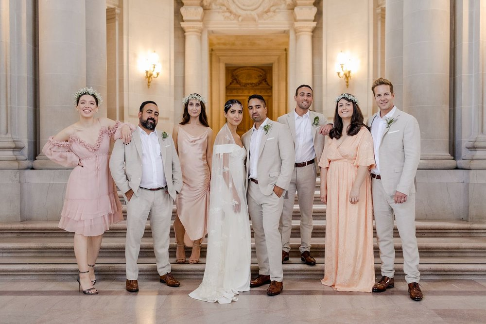 blush bridesmaids dresses wedding photos