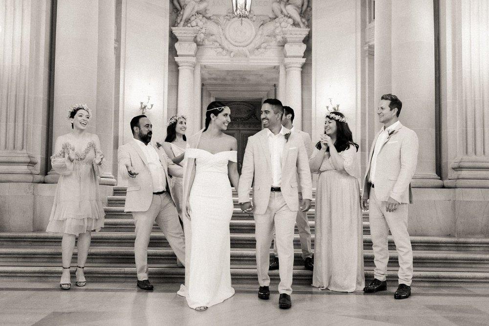 black and white wedding photography at san francisco city hall