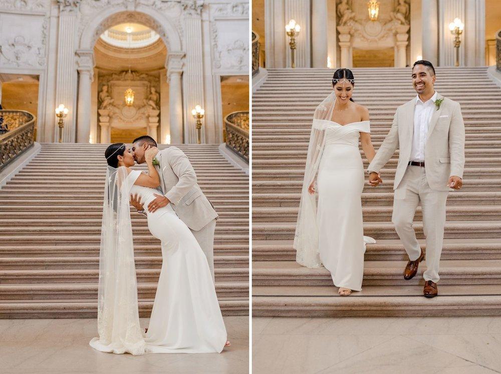 newleyweds at san francisco city hall wedding