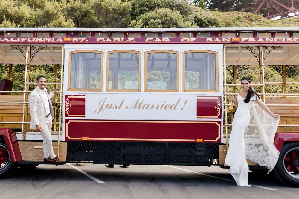 just married wedding trolley golden gate bridge
