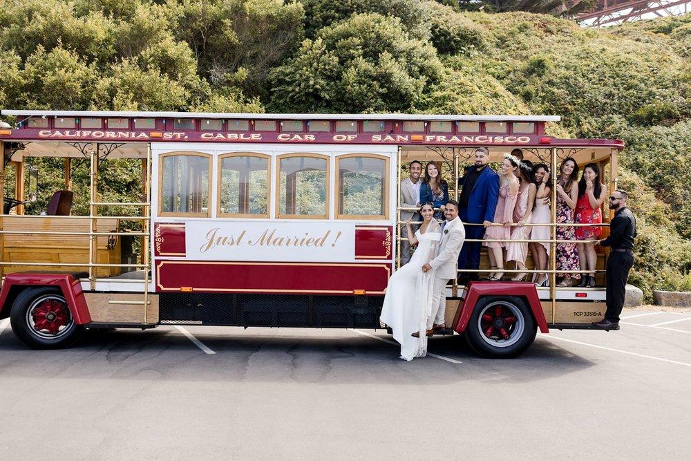 wedding trolley san francisco golden gate bridge