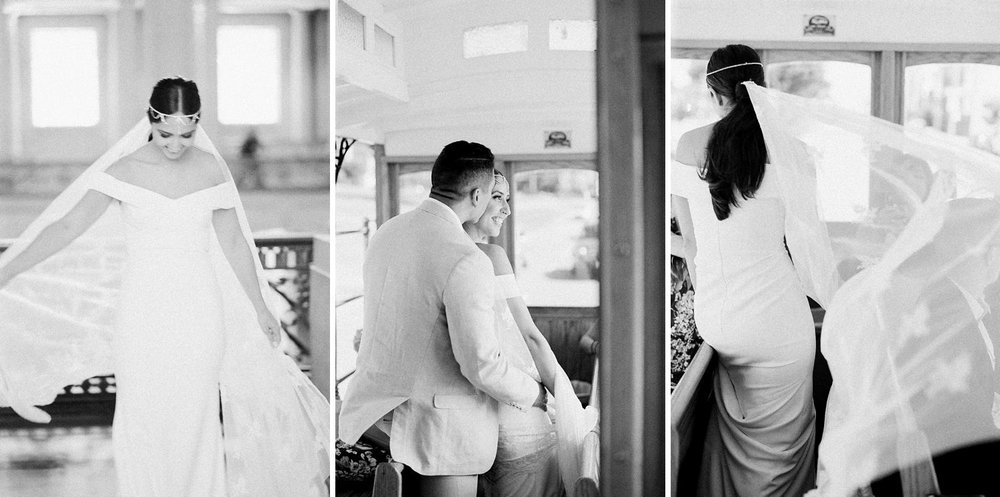 bride wearing bhldn blake gown at san francisco city hall