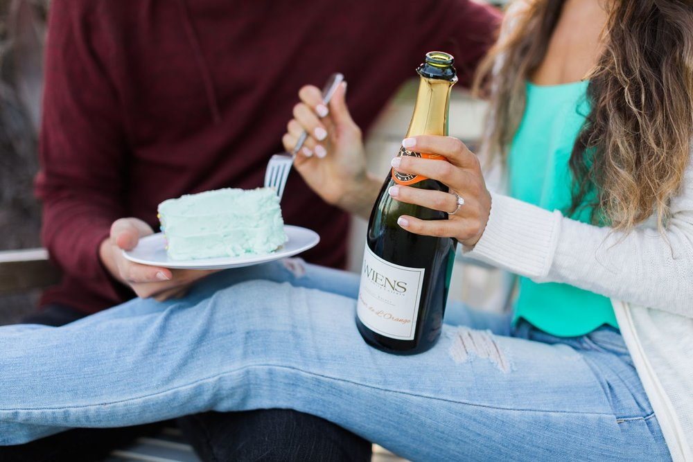 champagne and cake engagement photos