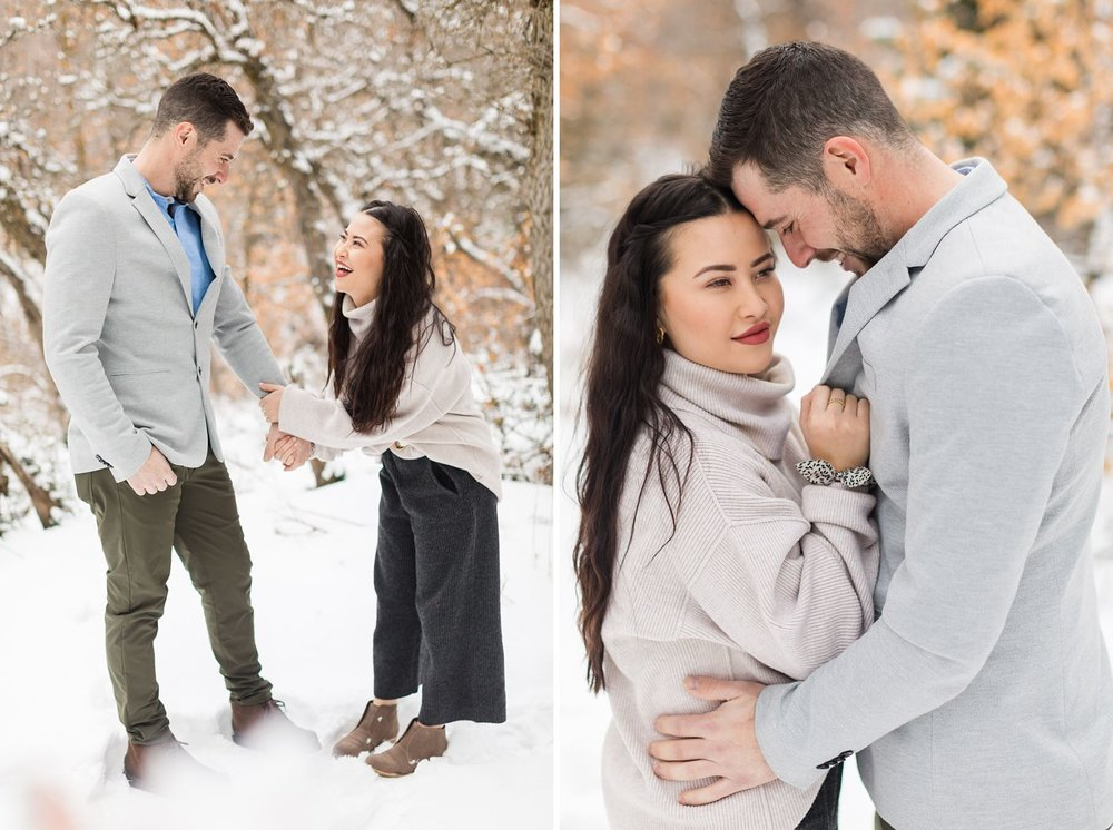 snowy little cottonwood canyon engagement photos