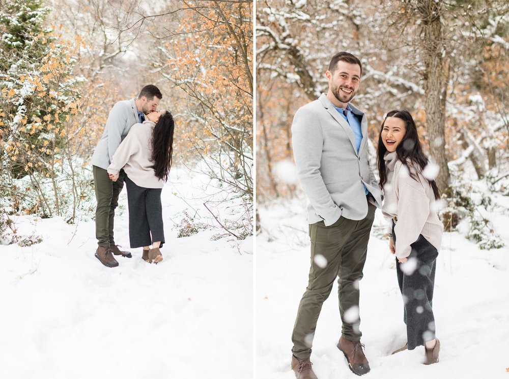 salt lake city snowy engagement photos
