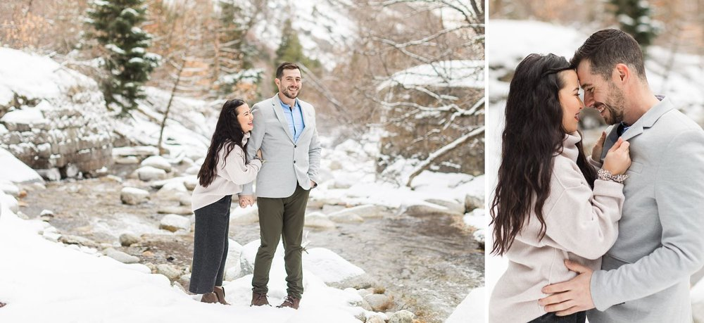 winter mountain engagement shoot