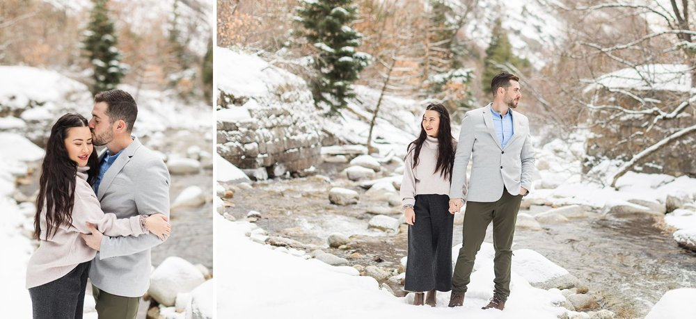 snowy river mountain engagement photos