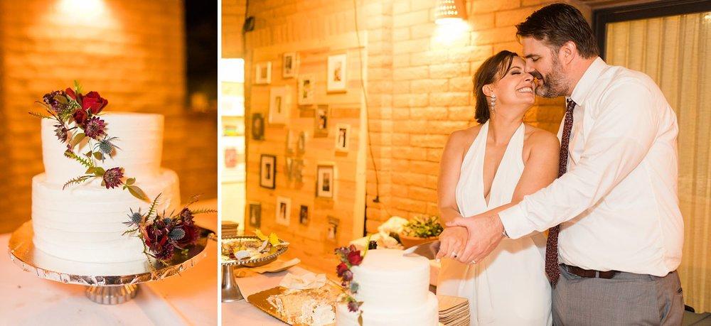bride and groom cutting cake tubac arizona