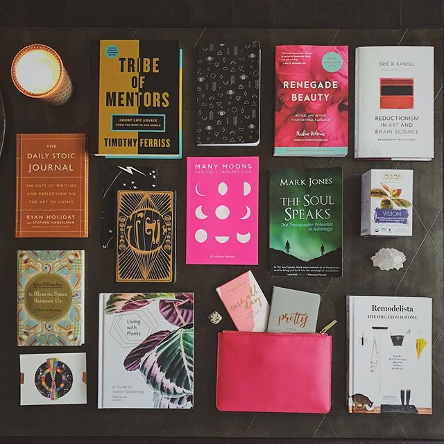 Here are 11 reasons why I haven't been posting much ... all the books ... so much to learn, download and integrate into my coaching biz. I'm adding layers subtracting what doesn't resonate and creating something unique and very specific to my brand of alchemy. Craving new experiences and continued growth in 2018.  PS. I've chosen my #oneword and it's in this photo. See it? 🤔 #instabooks #instareads #flatlay #renegadebeauty #manymoons #coachinglife #alchemy #tribeofmentors #bookofblessings #minimalism