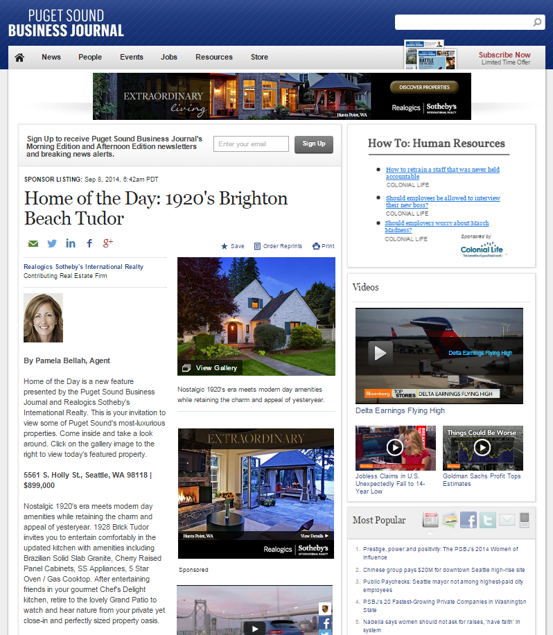 Pamela Bellah Puget Sound Business Journal Home of the Day