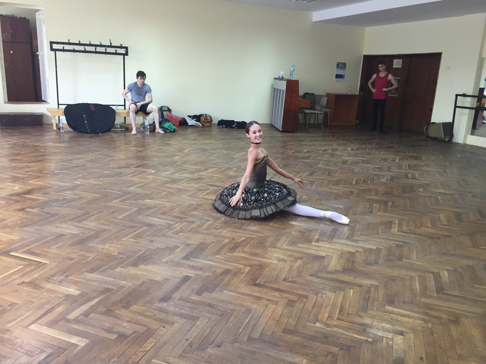 final studio rehearsals in varna, practicing my variation for the first round.