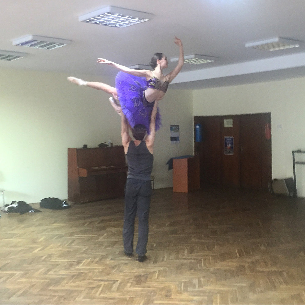 back in the studio rehearsing pas d'esclave. we are not used to dancing on wooden floors but we are doing our best!