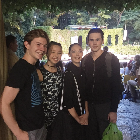 Celebrating passing into second round with fellow American dancers. From left, Jack Beckham, Sophia Lucia, Juliet Doherty and Slawek Wozniak.