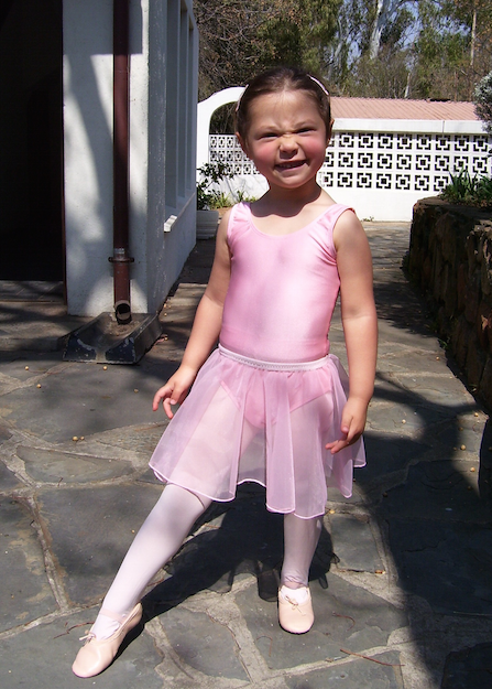 justine on her way to her first ballet class!!