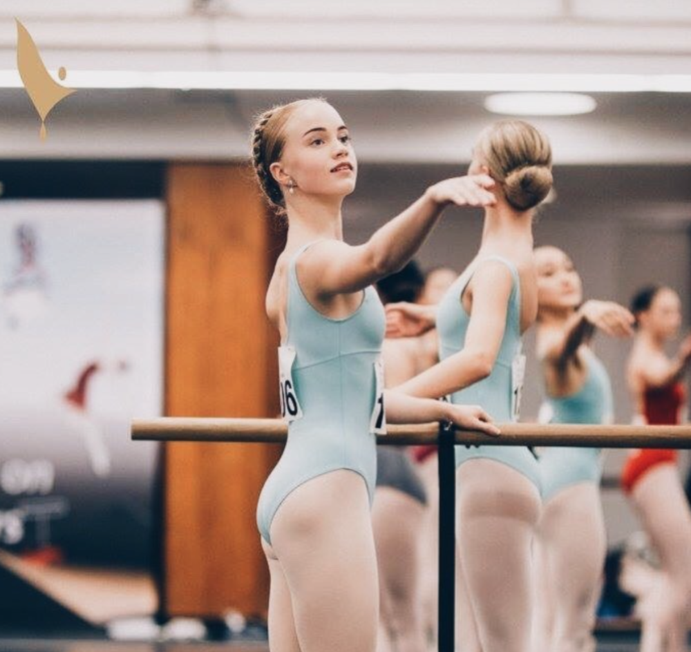 "phoebe (and another MDM JA, matisse!) at the barre during the ""prix"""