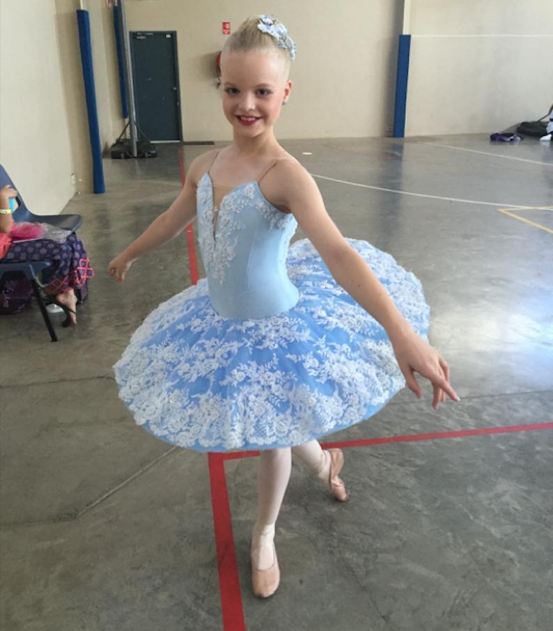 arielle at her first ballet competition, aged 10