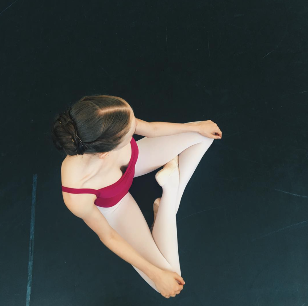 grace pictured wearing mdm antares leotard, maroon.