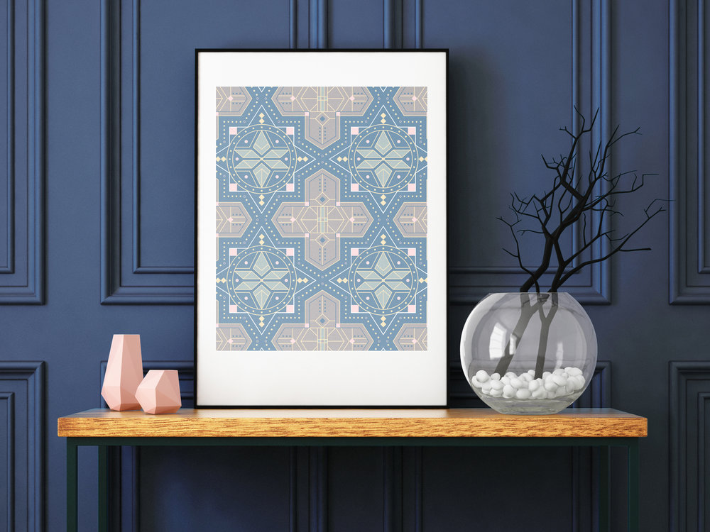 This is an 8x10 art print inspired by Moroccan tiles. This is a great art pattern for a gallery wall.