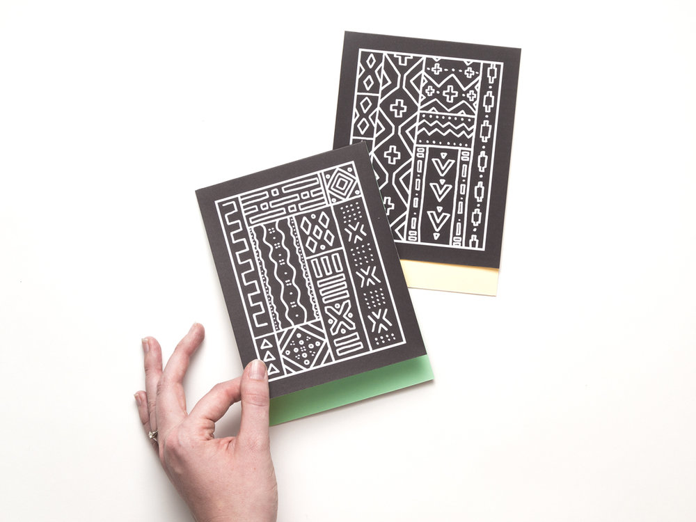 These mud cloth greeting cards bring unique tribal designs to your stationery.