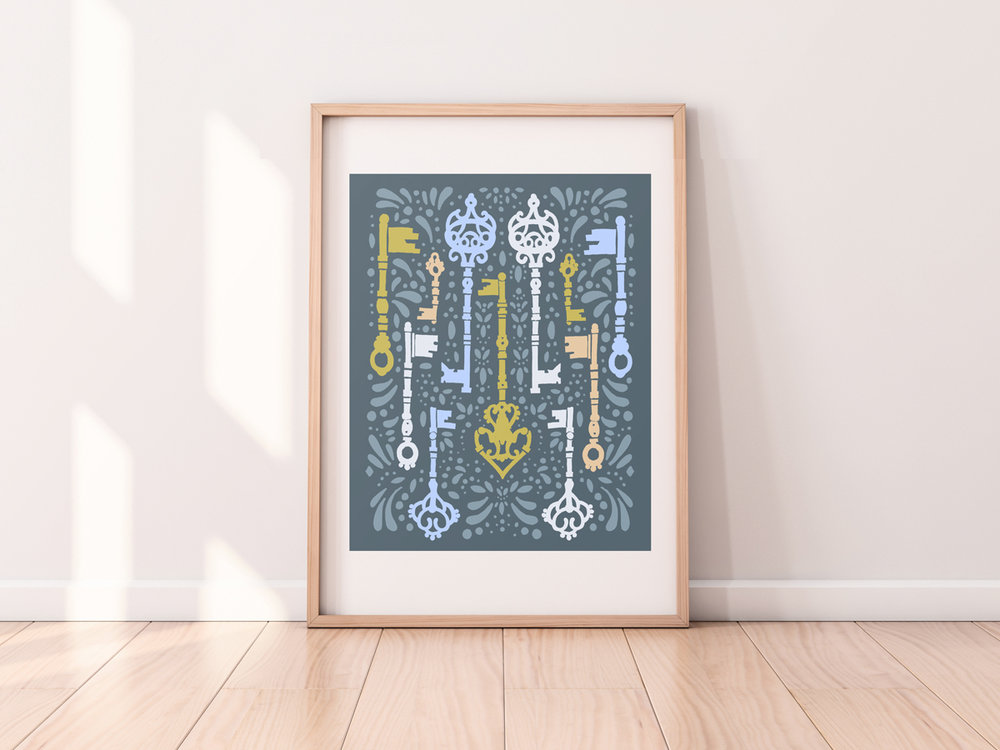 This artist print features antique keys in a fresh, modern pattern design.