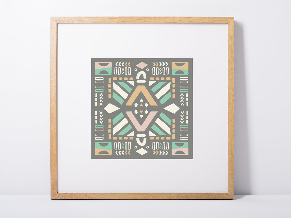 "This square 6x6"" art print features tribal designs and pastel colors. It's a perfect small print for a nursery room."