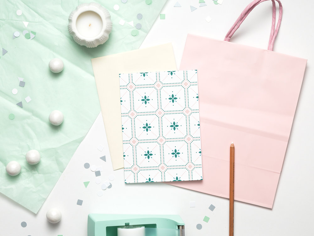This girly card design is great to pair with a wedding shower gift or to write your thank you's for your baby shower. It's inspired by Moroccan patterns and features a soft pink and green color palette.