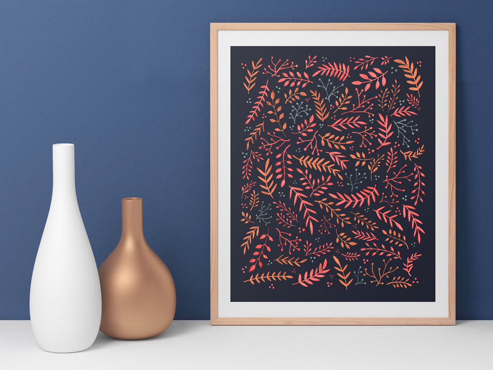 This bright floral print incorporates ferns and plants in vibrant pinks, blues, and oranges.