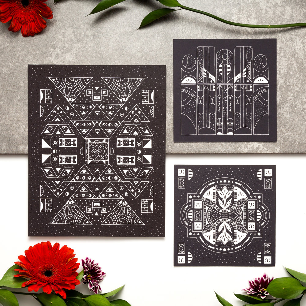 These hand-drawn black and white art prints are perfect for the person who appreciates psychedelic art or loves space and the cosmos.