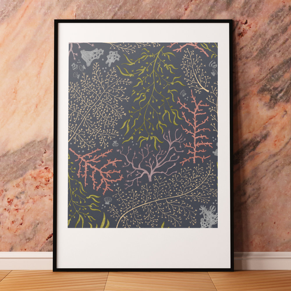 This coral art print is a nice twist on the traditional floral design. If you're looking for home art, consider the beautiful jewel tones that this will bring into your space!