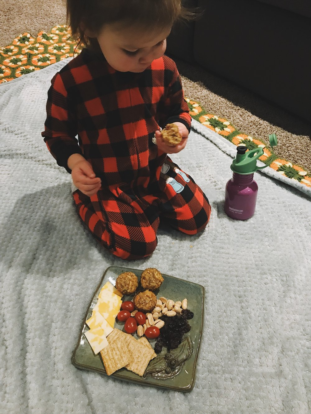 Basement picnics in our PJ's, is there anything better!?