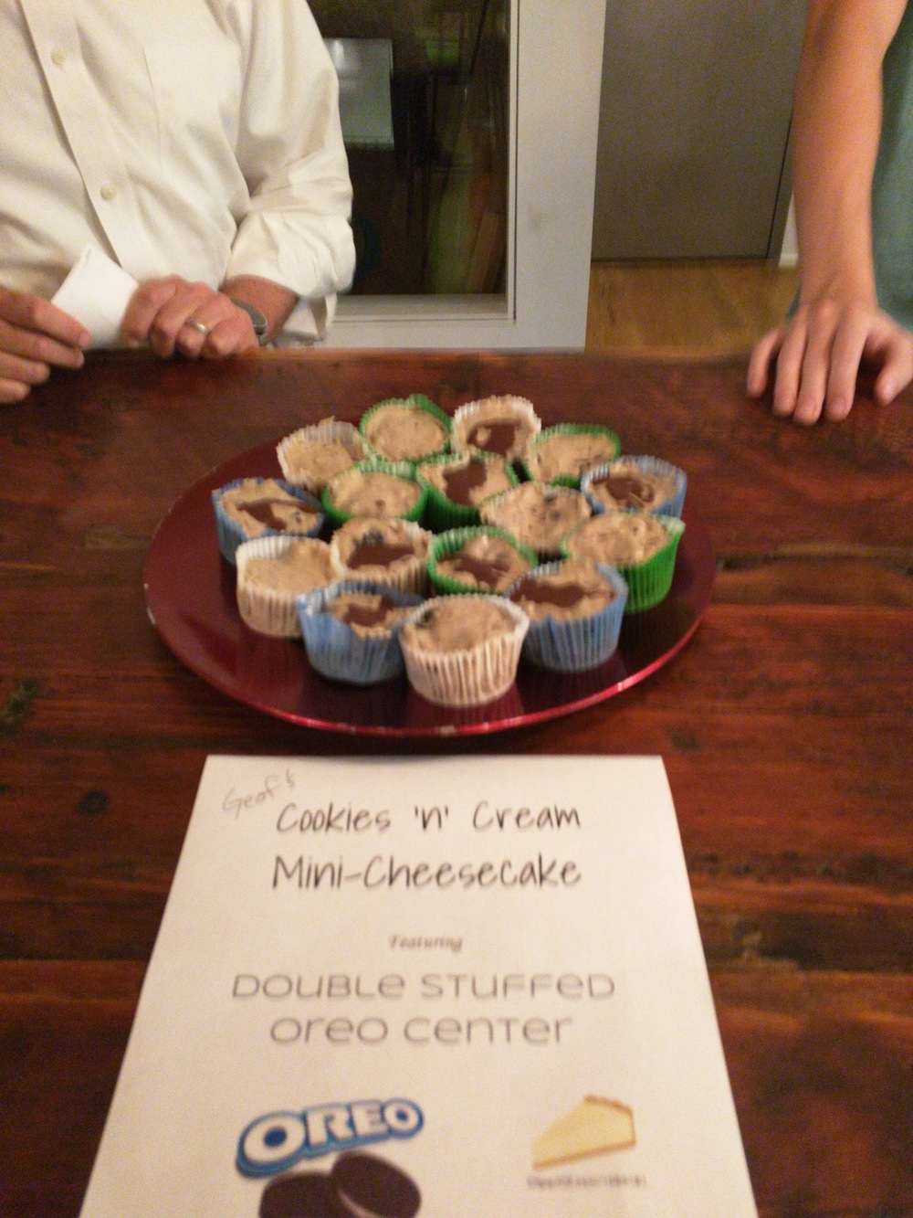 Day 2: Geof's Cookies & Cream & Cookies mini-Cheesecakes (Oreos inside!)
