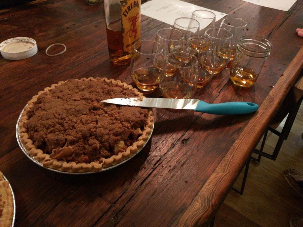 Dave's cinnamon-Dutch apple pie, served with a fine Fireball chaser